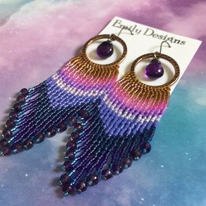 Amethyst beaded fringe earrings